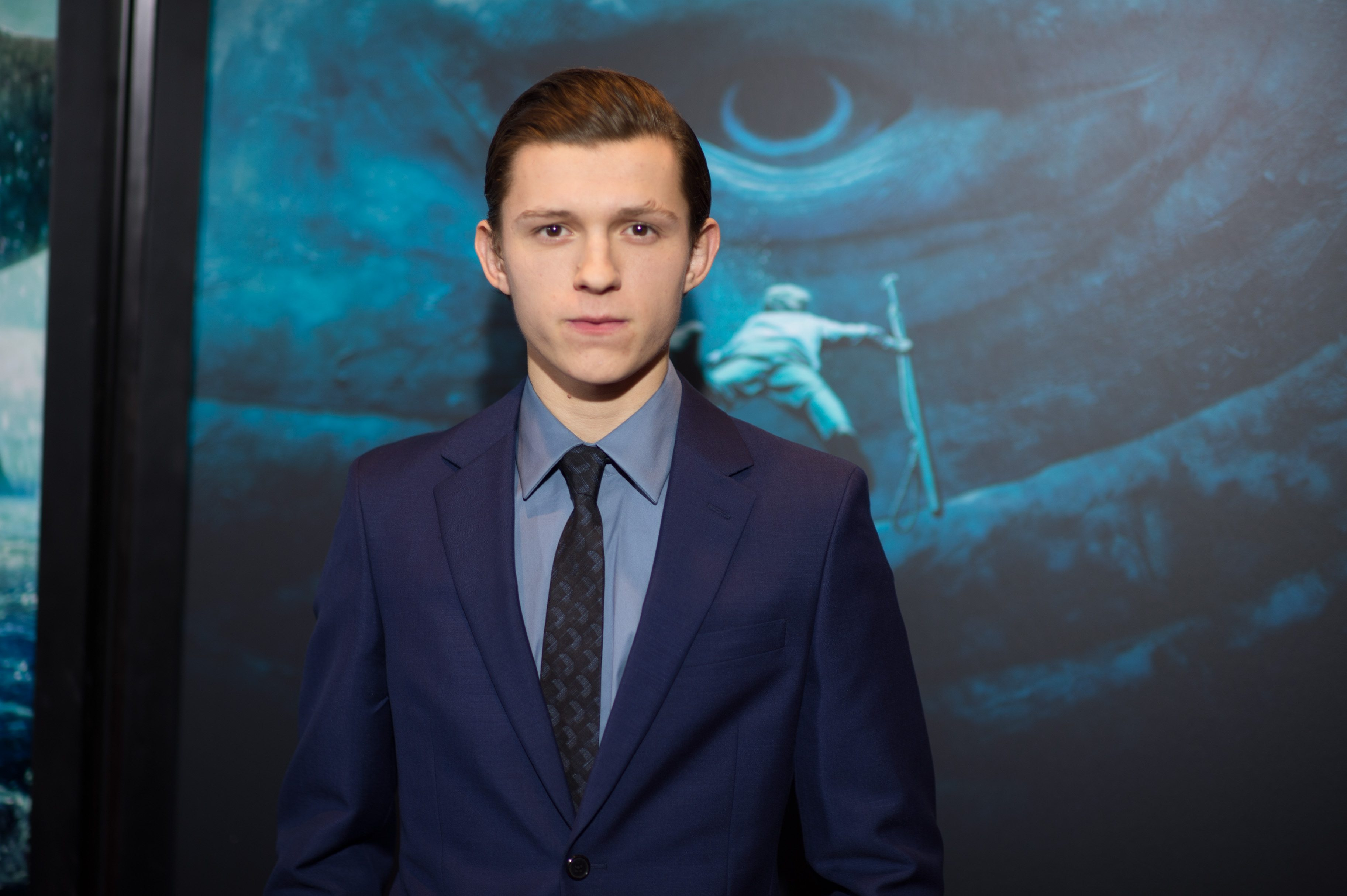 """NEW YORK, NY - DECEMBER 07:  Tom Holland arrives at the """"In The Heart Of The Sea"""" New York Premiere at Frederick P. Rose Hall, Jazz at Lincoln Center on December 7, 2015 in New York City.  (Photo by Dave Kotinsky/Getty Images)"""